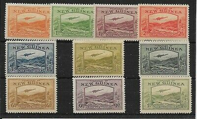 New Guinea Sg212/21 1939 Airmail Set To 1/= Mtd Mint