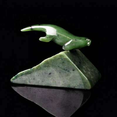 Green Genuine Natural Nephrite Jade Otter on Base 4.75 inches