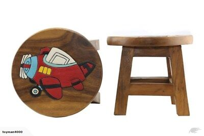 Chunky Solid Wooden Child's Stool  - Aeroplane Design - NEW