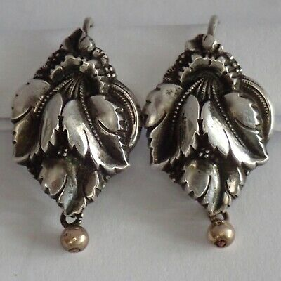 Fine Antique Austrian Victorian Sterling Silver Repousse Leaf Earrings