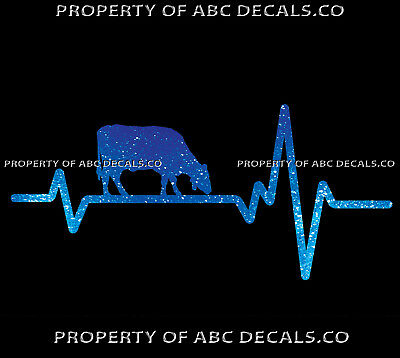 VRS HEART BEAT LINE ANIMAL COW Grazing Ranch Dairy Farm Cattle CAR METAL DECAL