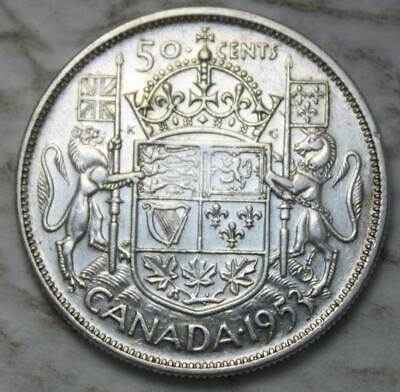 Canada 1953 LD SF Silver 50 Cents, Nice Grade, Large Date, Shoulder Fold Variety