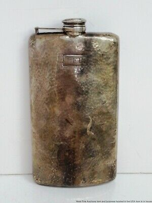 Largest Sterling Silver Arts Crafts Hand Hammered Liquor Hip Flask 1 Pint DFC