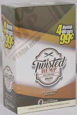 Twisted Hemp Wraps Plain Jane Natural 15 Packs 60 Wraps Rolling Papers FULL BOX