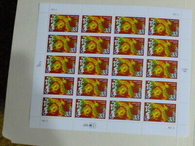 United States Scott 3370, the 33 cents Chinese New Year (Dragon) sheet Mint