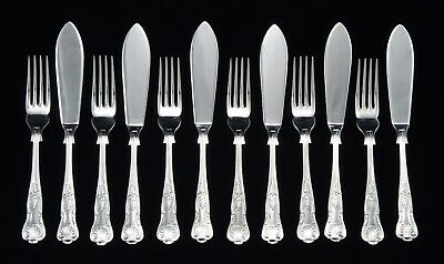 12 Vintage Heavy Silver Plated Kings Pattern Fish Knives And Forks Epns A1