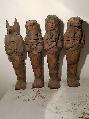 Rare Antique Ancient Egyptian Statues 4 Sons Horus Protection Anubis 2180-2120BC