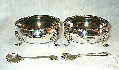 Pair of Antique Silver Plate Salts with Spoons