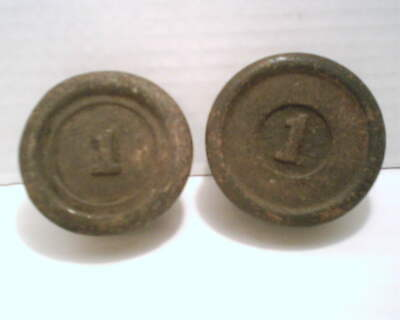 Vintage 1 Lb. Cast Iron Scale Weights Lot Of 2
