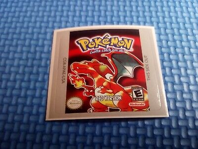 Label / Sticker For Nintendo Gameboy Game Boy Pokemon Red Rojo (Not Game)