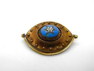 BIG Antique Victorian Georgian Mourning Pin Brooch 14K Gold Filled Pearl Enamel