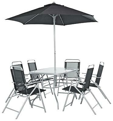 Home 6 Seater Garden Patio Set Table Chairs And Parasol - Outdoor Furniture
