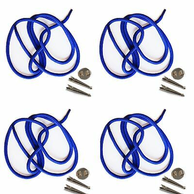 Blank Bolo Tie Parts Kit Round Slide Smooth Tips Blue Cord Silvertone Pk/4