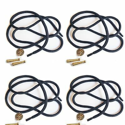 Blank Bolo Tie Parts Kit Round Slide Textured Tips Navy Cord Goldtone Pk/4