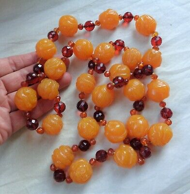 "Old Asian Exotic Wild Jungle Animal Carved Amber 20mm Bead 42"" Necklace tested"