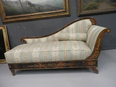 Important Antique Day Bed Charles x Carved 1820 Approx Ottoman Canape'