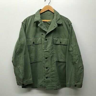 VINTAGE WWII 1940s US Army HBT Cotton 13 Star Button Shirt 40 R