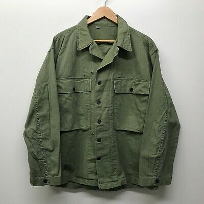 VINTAGE WWII 1940s US Army HBT Cotton 13 Star Button Shirt 42 R