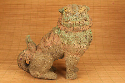 antique chinese old wood hand carved buddhas lion statue