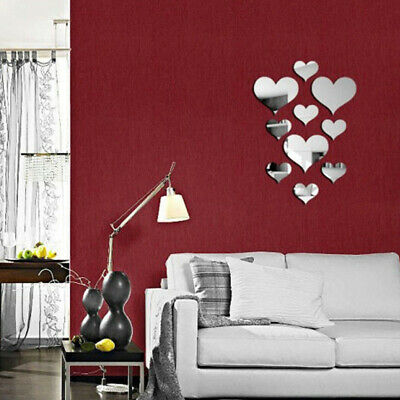 USA 3D Acrylic Mirror DIY Wall Decal Mural Decor Vinyl Art Stickers Love Heart