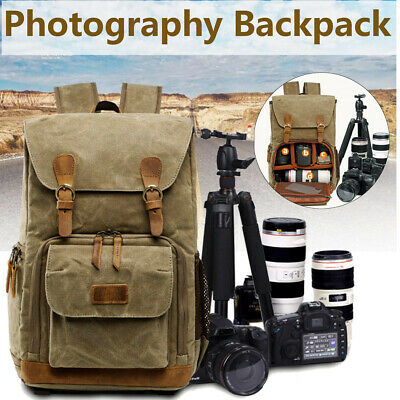 Camera Backpack DSLR Canvas Large Waterproof Camera Rucksack Travel Camera Bag