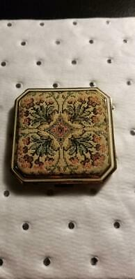 Antique Elgin American Embroidery Gold Floral Compact