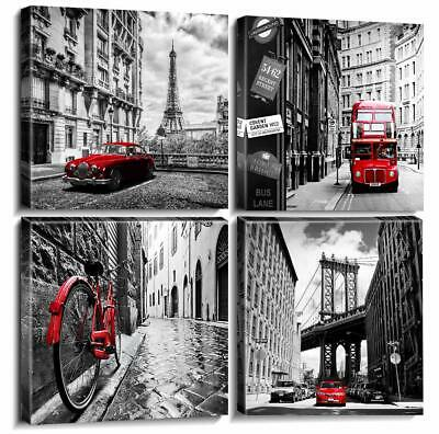Wall Art Canvas Prints Home Decor Posters 4 Pieces Framed Black White Red Pictur