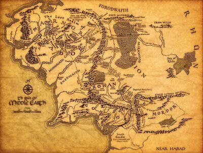 Ksm Map Of Middle Earth The Lord Of The Rings Fabric Canvas Cloth Poster Print F