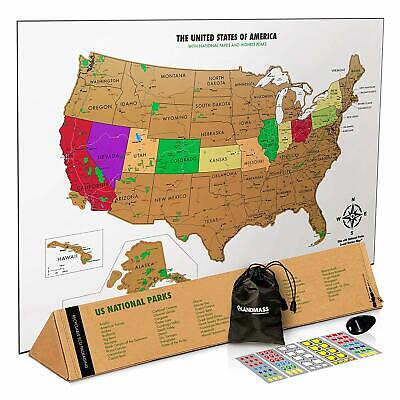 Landmass Scratch Off Map Of The United States - Usa Wall Map - Us National Parks