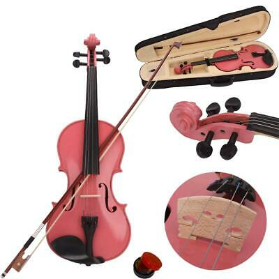 School Band 1/4 Size Acoustic Violin Pink w/ Case Bow Rosin for Students