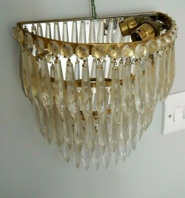 Vintage French Mirror Back 3 Tier Crystal Drop Waterfall Wall Chandelier~Sconce