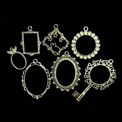 Open Bezels Charms DIY Craft Accessories Square Round Metal Pendant Jewelry