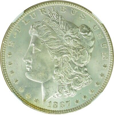 1887 $1 Morgan Silver Dollar NGC MS65