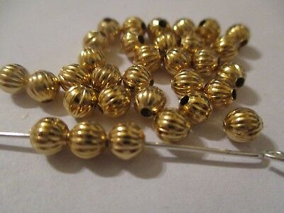 200 Striée Plaqué or 4.8 mm Perles Anti Ternissure Protection Finition Bx