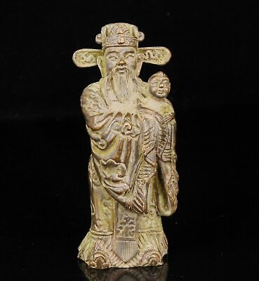China Collectible Handwork Carving Red Copper Spiritual God Wealth Statue