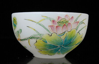 China Collectible Handwork Carving Painting Lotus Coloured Glaze Cup Gift