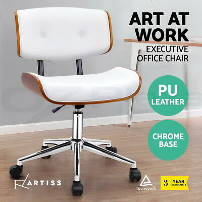Artiss Executive Wooden Office Chairs PU Leather Computer Home Work Seat White