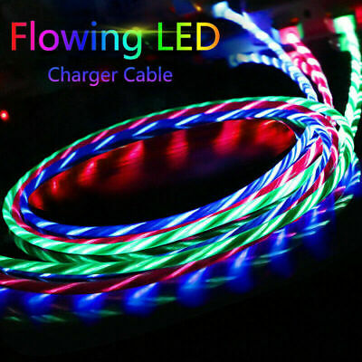 LED Charging Cable Cord For iPhone Android TypeC Flowing Light Cable USB Charger