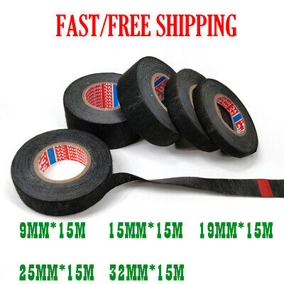 15m  Adhesive Cloth Fabric Wiring Harness Loom Tape Cable Roll 9mm 15mm 19mm
