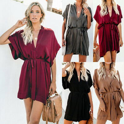 abda4890a5 Womens Ladies Pullover Drawstring Robe Batwing Loose Short Sleeve Mini Dress