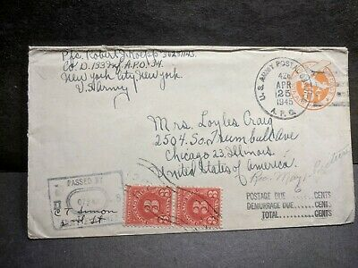 APO 34 FLORENCE, ITALY 1945 Censored WWII Army Cover 133rd Infantry APO 426