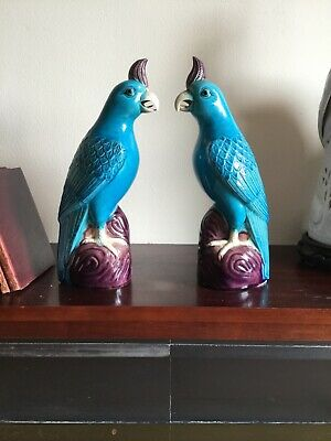 chinese parrot porcelain figurine pair
