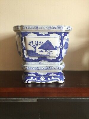 Vintage Blue White JARDINIERE Chinese Porcelain Pot Plant Planter with Base