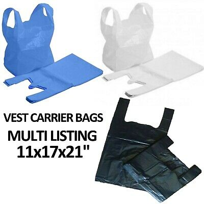 PLASTIC VEST CARRIER BAGS BLUE WHITE BLACK 11x17x21'' SUPERMARKETS STALLS