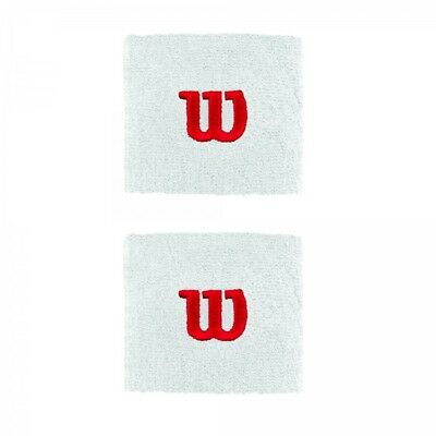 Wilson Wrist Sweat Bands x 2 White and Red Tennis Squash Badminton One Size 13 +