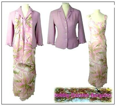 Libra Ladies 3 piece Outfit size 12 Pink Floaty maxi dress Mother of the Bride