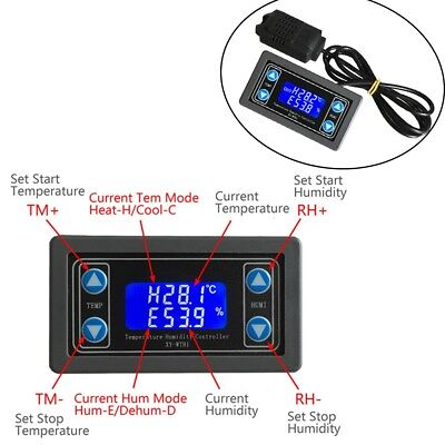 Thermostat Temperature Humidity Controller LCD Display SHT20 Sensor Relay DC 24V