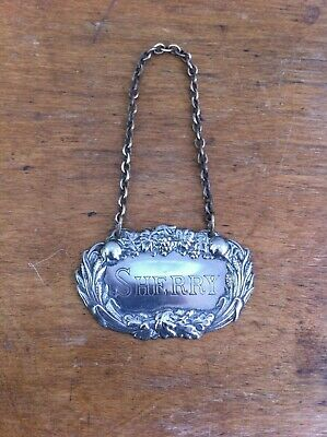 DECORATIVE VINTAGE SILVER PLATED SHERRY DECANTER LABEL 2.5 inches