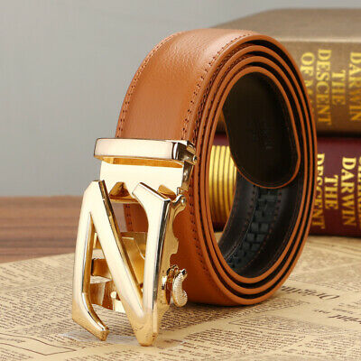 Fashion Mens Genuine Leather Belt Strap Automatic Buckle Rachet Belts New Youth