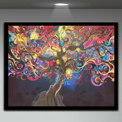 Hot Psychedelic Trippy Tree Abstract Art Silk Cloth Poster Home Wall Decor Craft